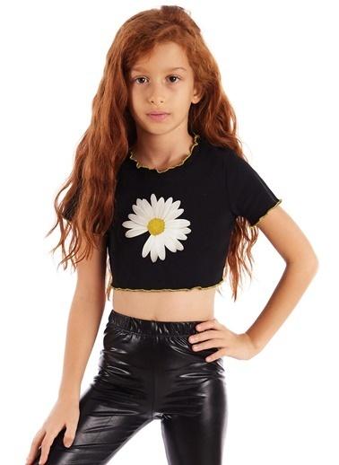 Colorinas Trim Crop Tshirt Lacivert Siyah